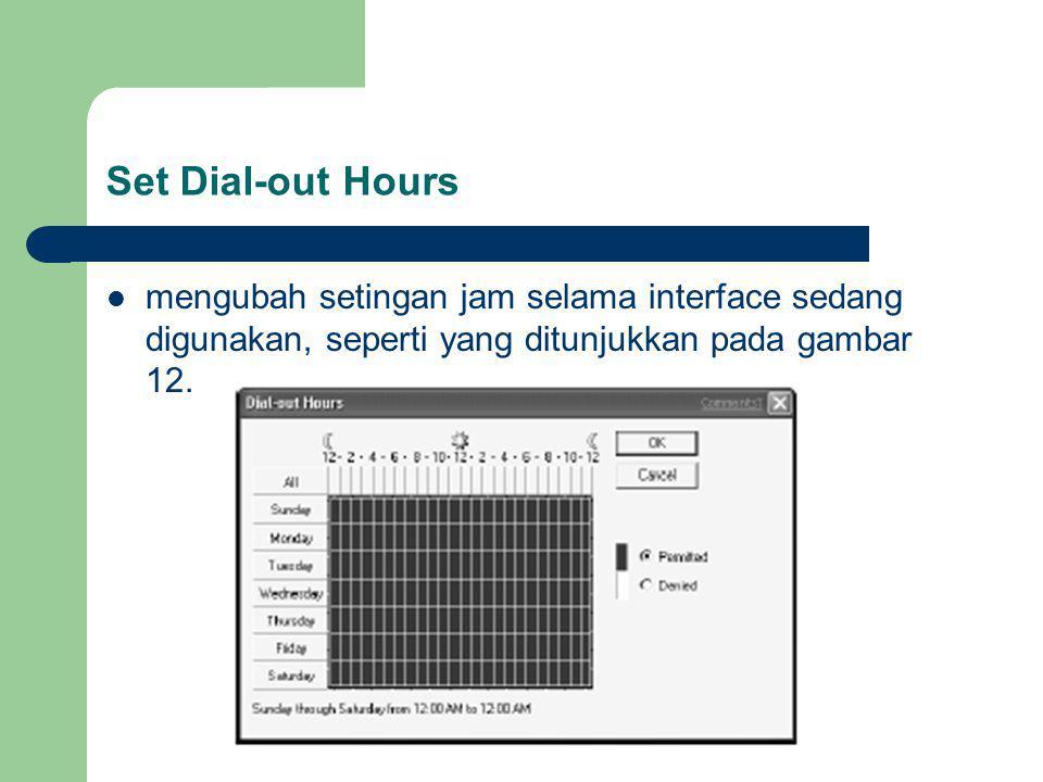 Set Dial-out Hours mengubah setingan jam selama interface sedang digunakan, seperti yang ditunjukkan pada gambar 12.