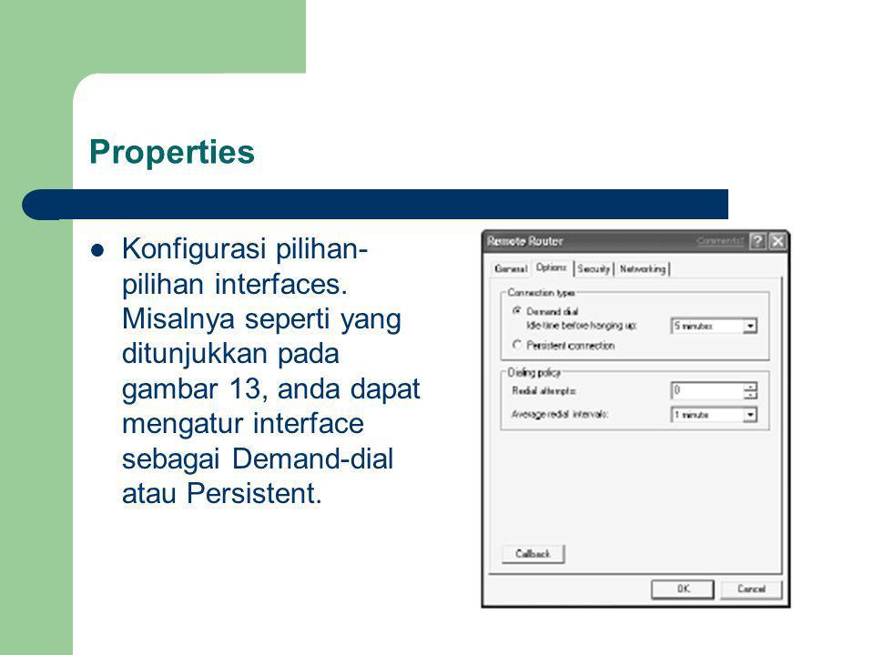 Properties Konfigurasi pilihan- pilihan interfaces.