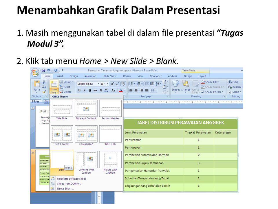 """Menambahkan Grafik Dalam Presentasi 1. Masih menggunakan tabel di dalam file presentasi """"Tugas Modul 3"""". 2. Klik tab menu Home > New Slide > Blank."""
