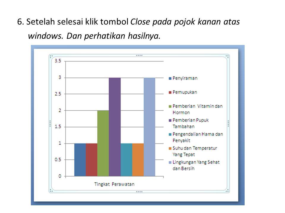 6. Setelah selesai klik tombol Close pada pojok kanan atas windows. Dan perhatikan hasilnya.