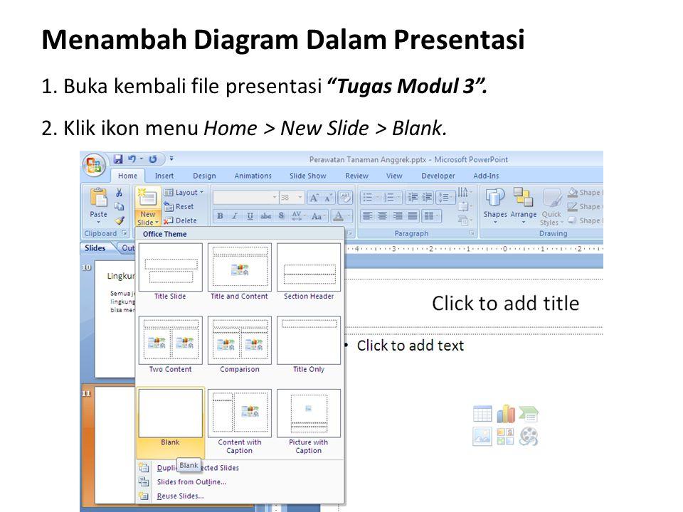 """Menambah Diagram Dalam Presentasi 1. Buka kembali file presentasi """"Tugas Modul 3"""". 2. Klik ikon menu Home > New Slide > Blank."""
