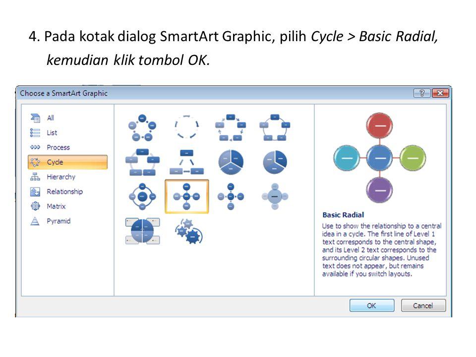 4. Pada kotak dialog SmartArt Graphic, pilih Cycle > Basic Radial, kemudian klik tombol OK.