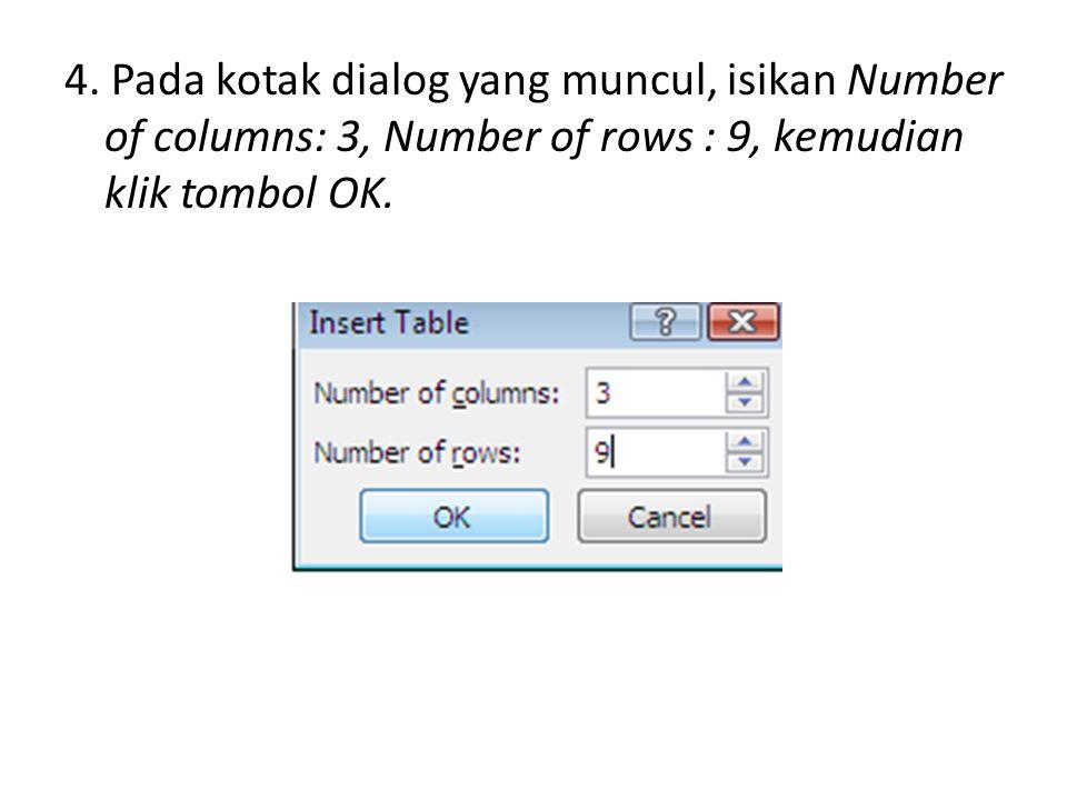 4. Pada kotak dialog yang muncul, isikan Number of columns: 3, Number of rows : 9, kemudian klik tombol OK.