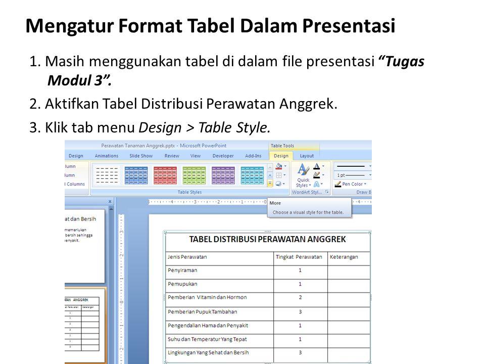 """Mengatur Format Tabel Dalam Presentasi 1. Masih menggunakan tabel di dalam file presentasi """"Tugas Modul 3"""". 2. Aktifkan Tabel Distribusi Perawatan Ang"""