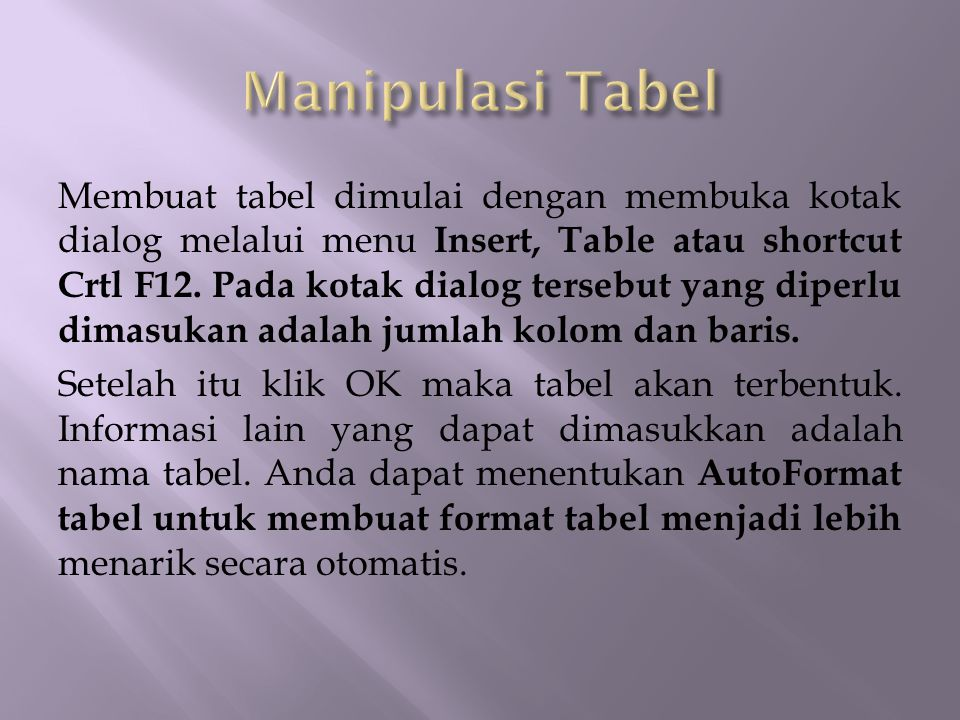 Membuat tabel dimulai dengan membuka kotak dialog melalui menu Insert, Table atau shortcut Crtl F12. Pada kotak dialog tersebut yang diperlu dimasukan