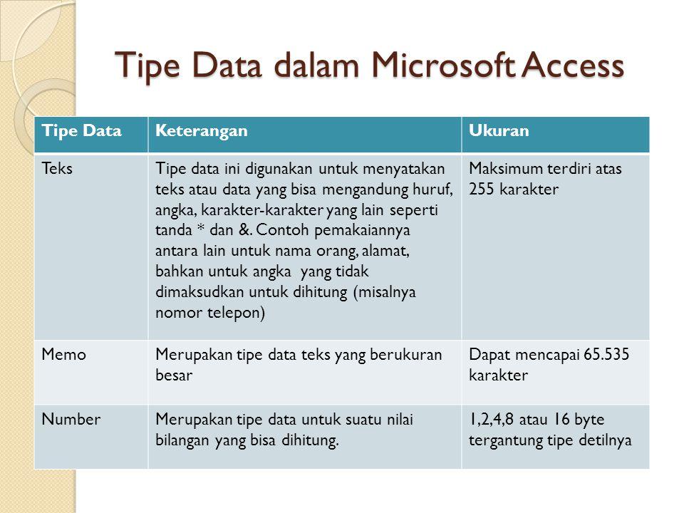 Tipe Data dalam Microsoft Access Tipe DataKeteranganUkuran TeksTipe data ini digunakan untuk menyatakan teks atau data yang bisa mengandung huruf, ang