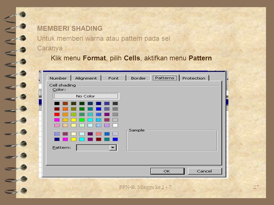 PPN-B, Minggu ke 2 - 727 MEMBERI SHADING Untuk memberi warna atau pattern pada sel Caranya : Klik menu Format, pilih Cells, aktifkan menu Pattern