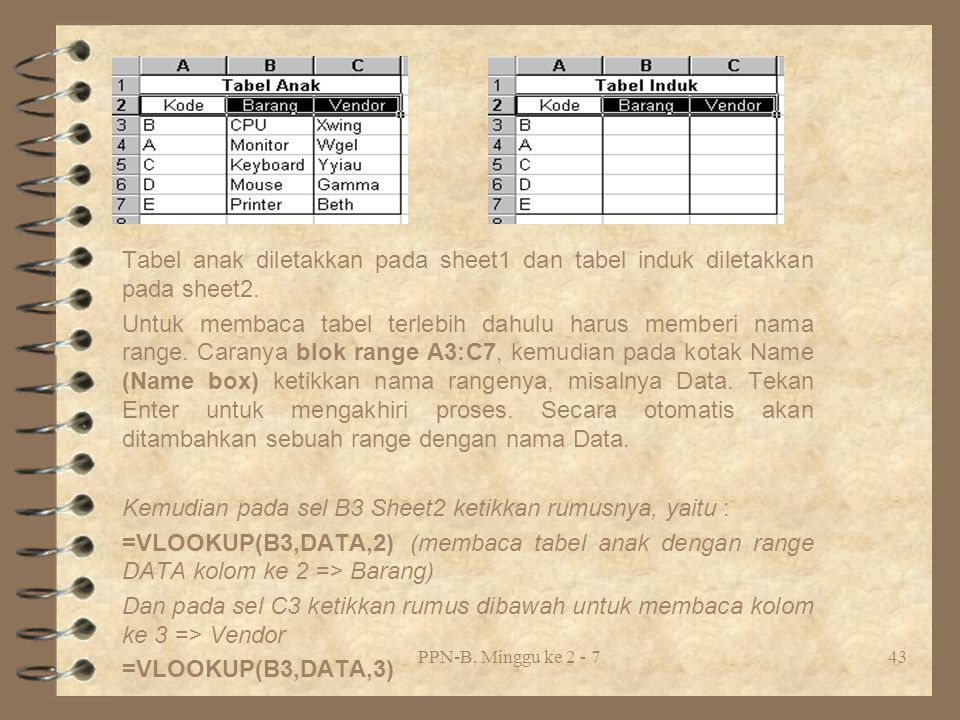 PPN-B, Minggu ke 2 - 743 Tabel anak diletakkan pada sheet1 dan tabel induk diletakkan pada sheet2.