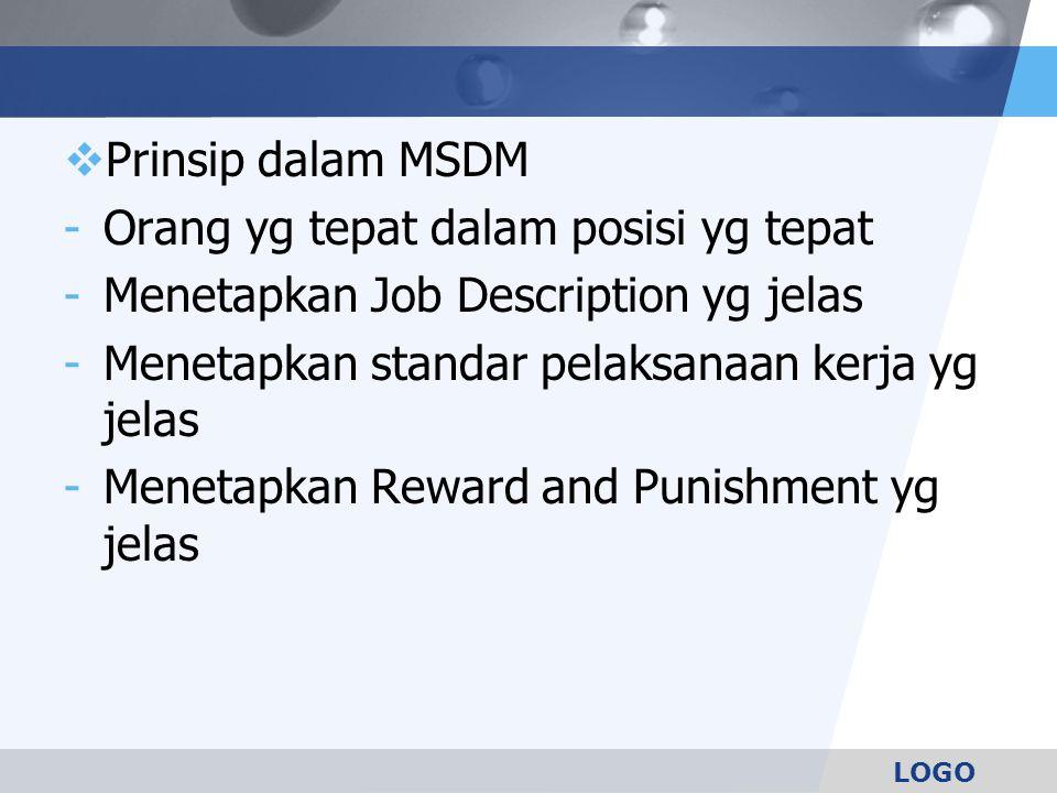 LOGO  Prinsip dalam MSDM -Orang yg tepat dalam posisi yg tepat -Menetapkan Job Description yg jelas -Menetapkan standar pelaksanaan kerja yg jelas -M