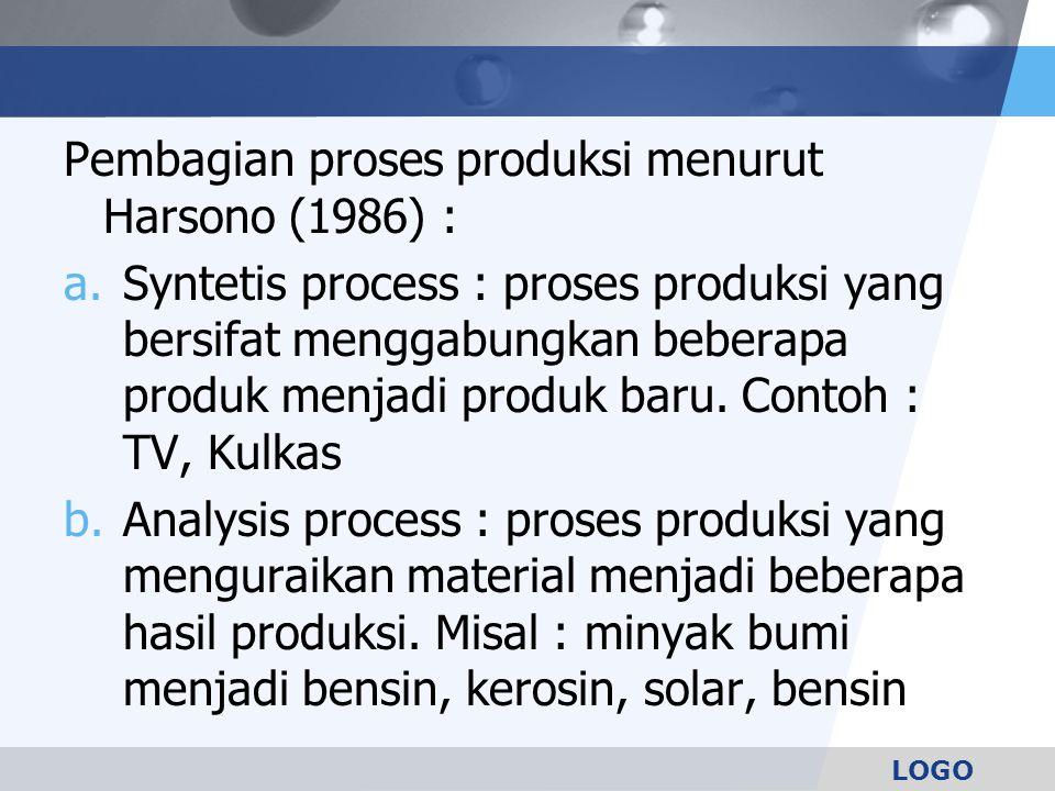 LOGO Pembagian proses produksi menurut Harsono (1986) : a.Syntetis process : proses produksi yang bersifat menggabungkan beberapa produk menjadi produ