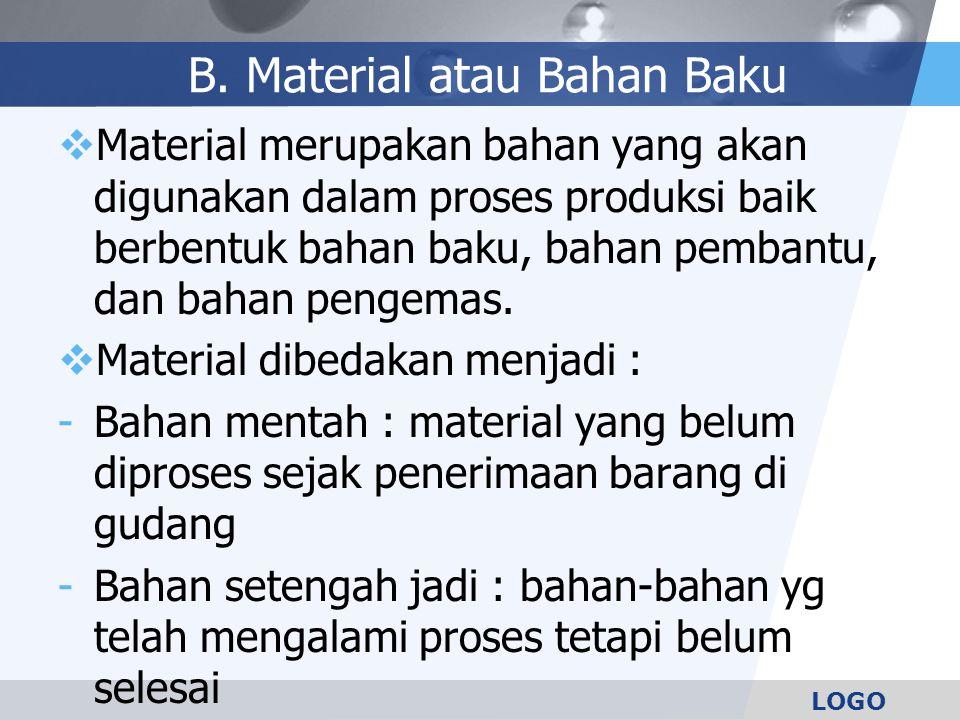 LOGO B. Material atau Bahan Baku  Material merupakan bahan yang akan digunakan dalam proses produksi baik berbentuk bahan baku, bahan pembantu, dan b