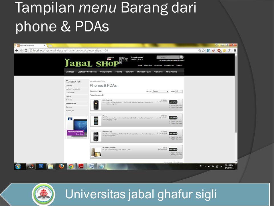 Tampilan menu Barang dari phone & PDAs Universitas jabal ghafur sigli