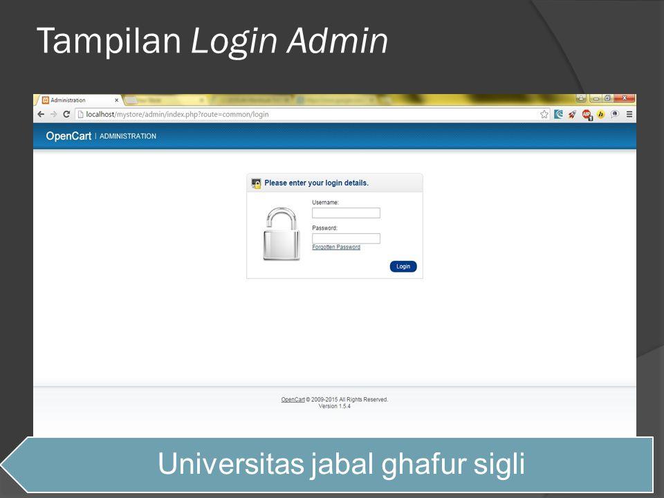 Tampilan Login Admin Universitas jabal ghafur sigli