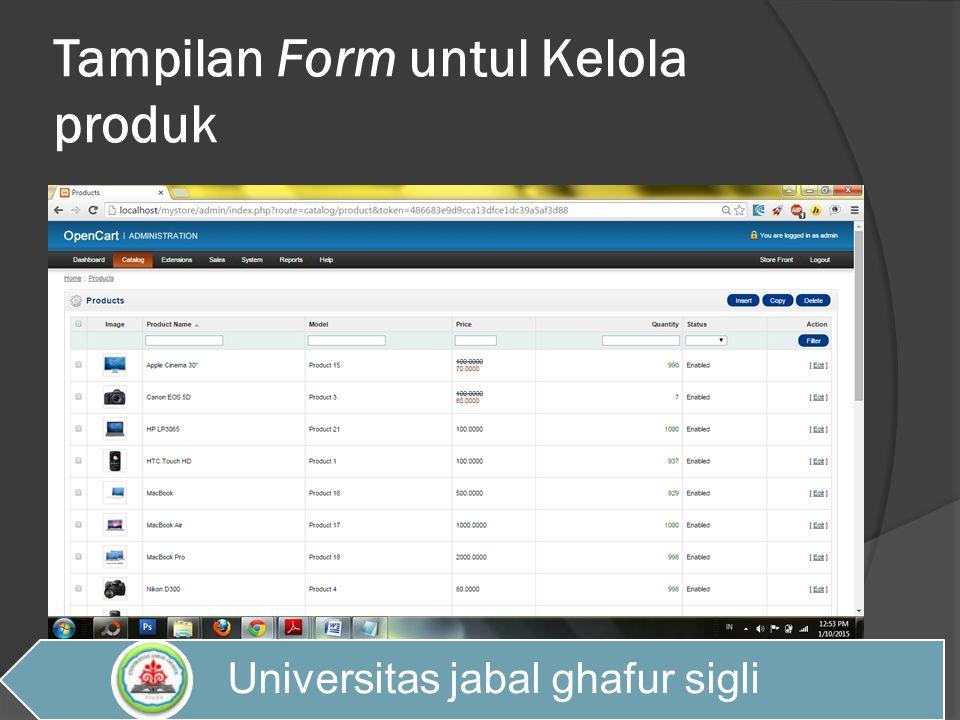 Tampilan Form untul Kelola produk Universitas jabal ghafur sigli