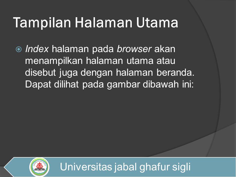Tampilan Halaman Utama (INDEX) Universitas jabal ghafur sigli