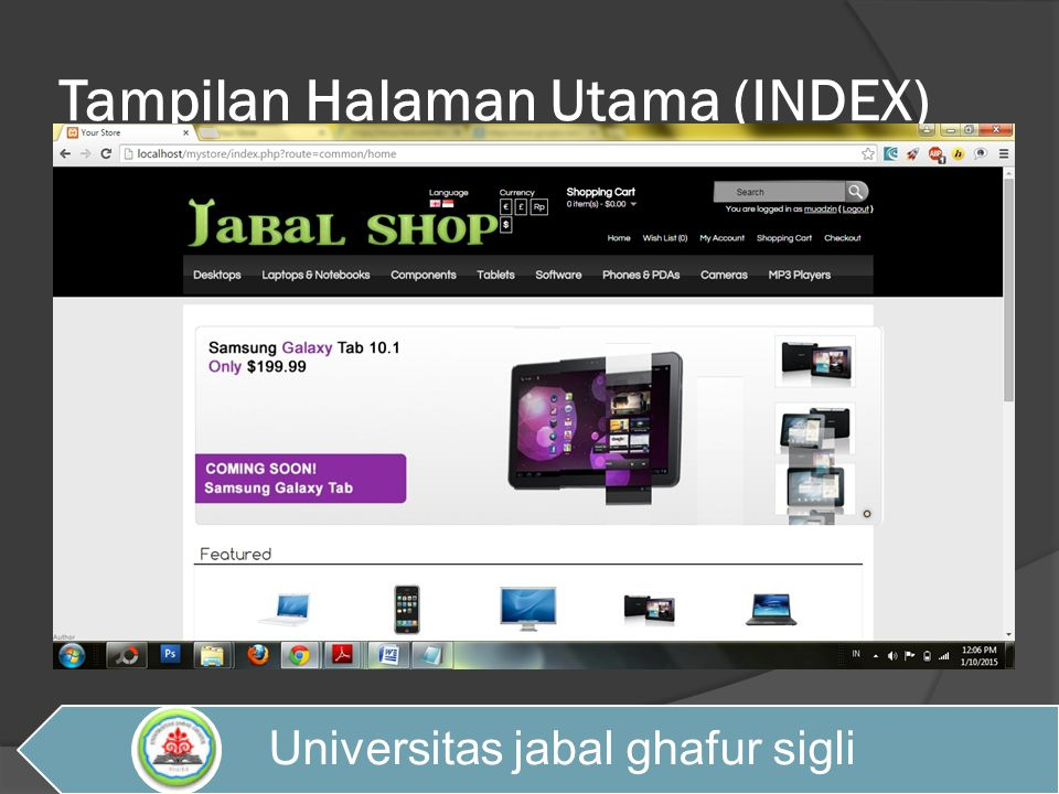 Tampilan Halaman Utama (INDEX) Universitas jabal ghafur sigli