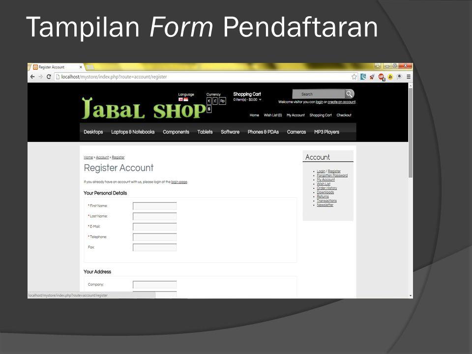 Tampilan Form Pendaftaran