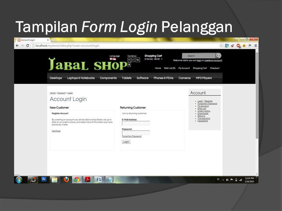 Tampilan Form Login Pelanggan