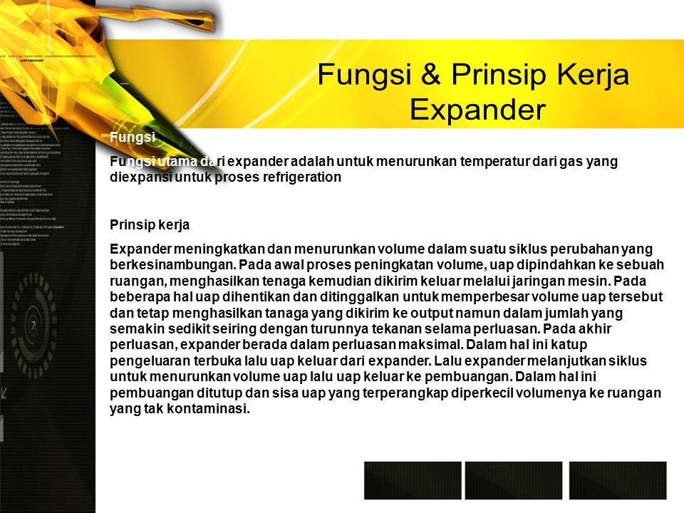 Fungsi Fungsi utama dari expander adalah untuk menurunkan temperatur dari gas yang diexpansi untuk proses refrigeration Prinsip kerja Expander meningkatkan dan menurunkan volume dalam suatu siklus perubahan yang berkesinambungan.