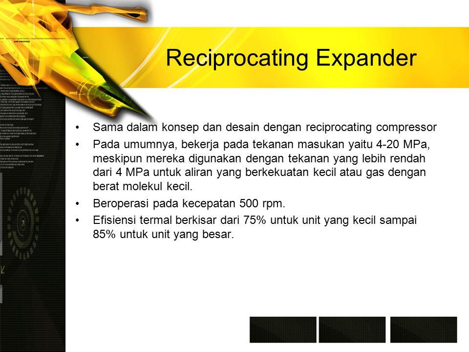 Reciprocating Expander Sama dalam konsep dan desain dengan reciprocating compressor Pada umumnya, bekerja pada tekanan masukan yaitu 4-20 MPa, meskipun mereka digunakan dengan tekanan yang lebih rendah dari 4 MPa untuk aliran yang berkekuatan kecil atau gas dengan berat molekul kecil.