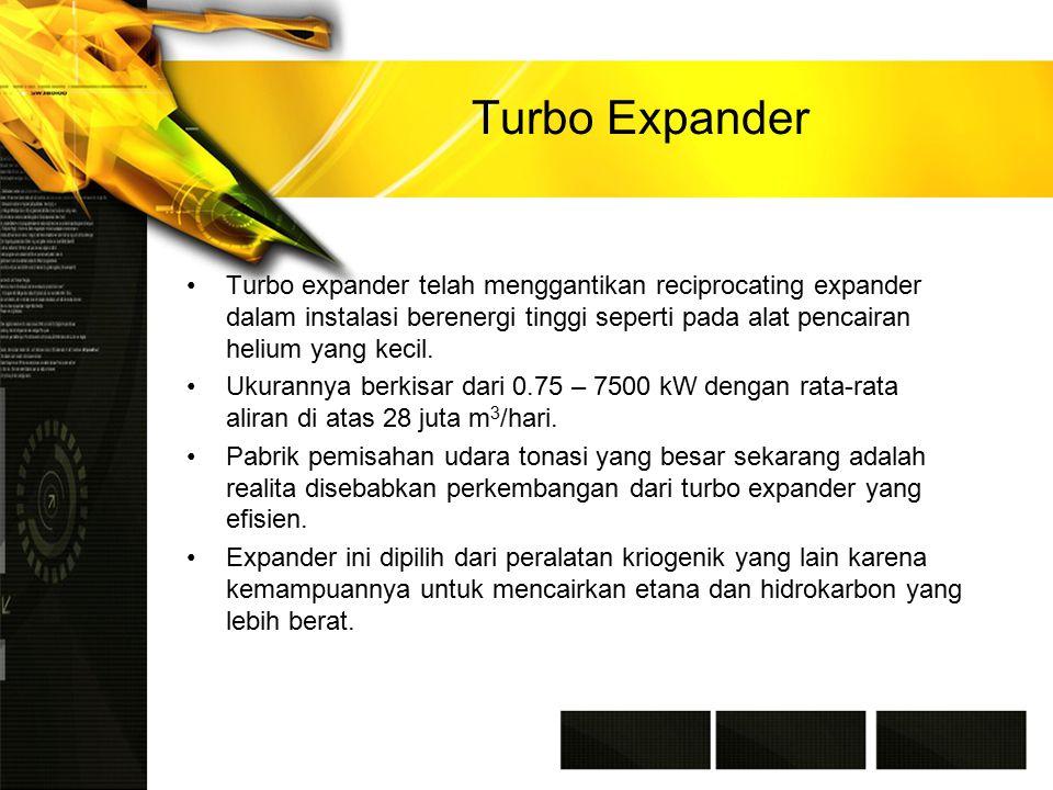 Turbo Expander Turbo expander telah menggantikan reciprocating expander dalam instalasi berenergi tinggi seperti pada alat pencairan helium yang kecil.