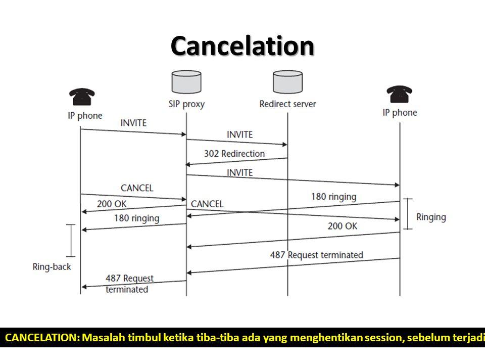 Cancelation CANCELATION: Masalah timbul ketika tiba-tiba ada yang menghentikan session, sebelum terjadi pembicaraan. Pada SIP adalah waktu sebelum pro