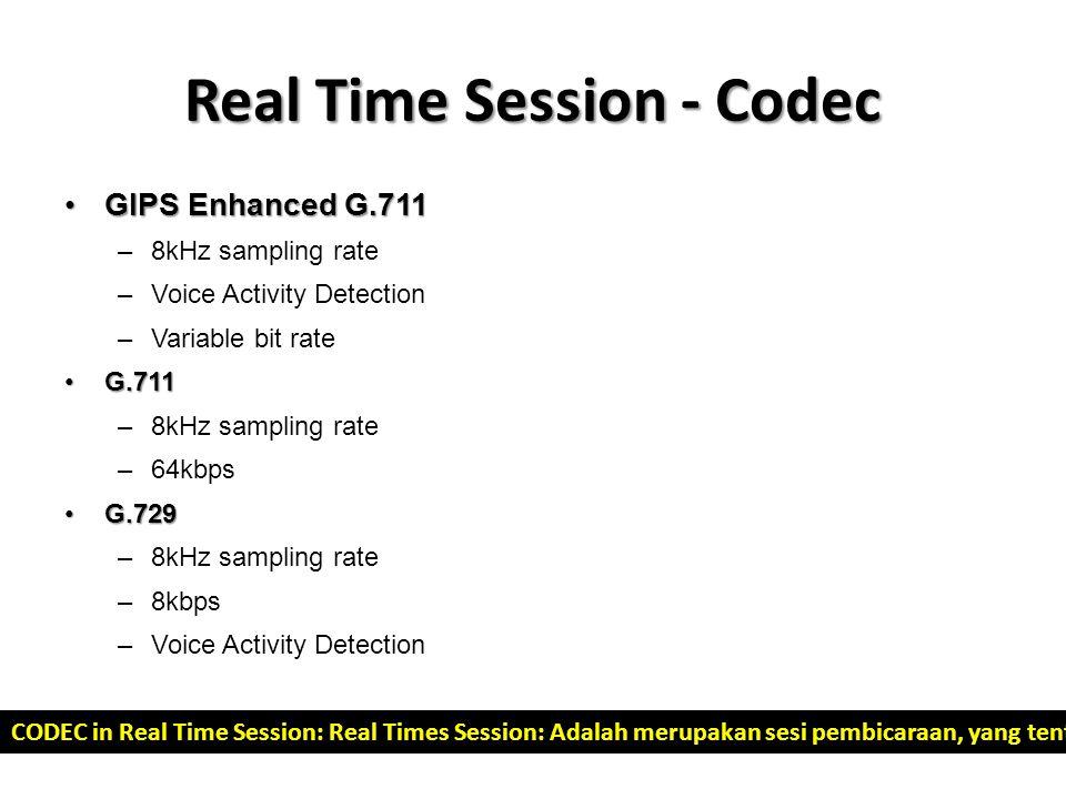 Real Time Session - Codec GIPS Enhanced G.711GIPS Enhanced G.711 –8kHz sampling rate –Voice Activity Detection –Variable bit rate G.711G.711 –8kHz sam