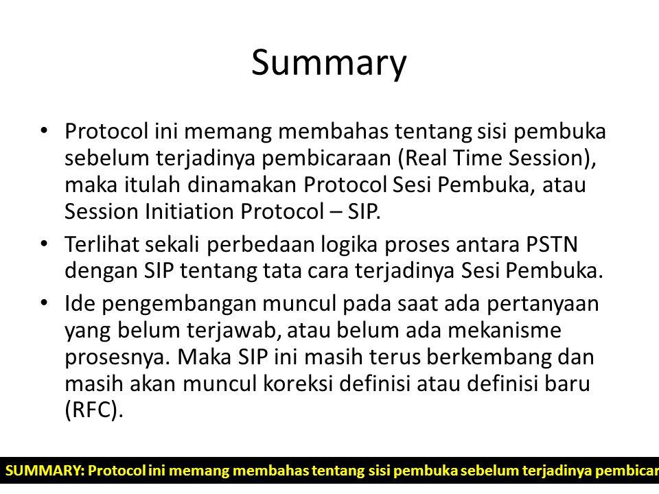Summary Protocol ini memang membahas tentang sisi pembuka sebelum terjadinya pembicaraan (Real Time Session), maka itulah dinamakan Protocol Sesi Pemb