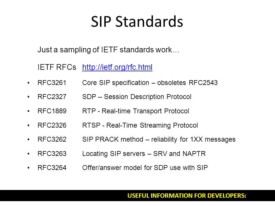 SIP Standards Just a sampling of IETF standards work… IETF RFCshttp://ietf.org/rfc.htmlhttp://ietf.org/rfc.html RFC3261Core SIP specification – obsole