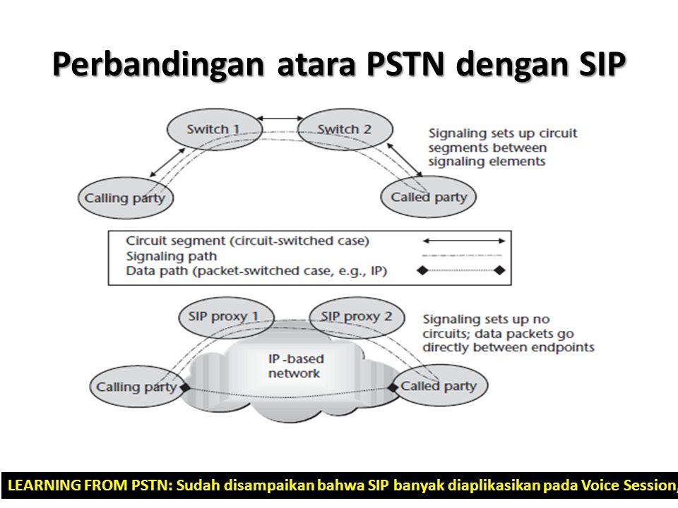 Perbandingan atara PSTN dengan SIP LEARNING FROM PSTN: Sudah disampaikan bahwa SIP banyak diaplikasikan pada Voice Session, maka disini dibahas dengan