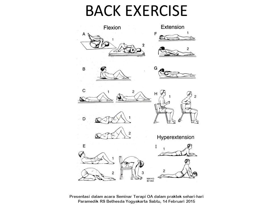 BACK EXERCISE Presentasi dalam acara Seminar Terapi OA dalam praktek sehari-hari Paramedik RS Bethesda Yogyakarta Sabtu, 14 Februari 2015
