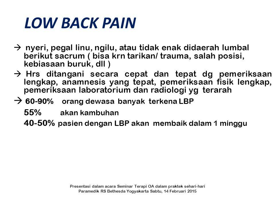 LOW BACK PAIN  nyeri, pegal linu, ngilu, atau tidak enak didaerah lumbal berikut sacrum ( bisa krn tarikan/ trauma, salah posisi, kebiasaan buruk, dl
