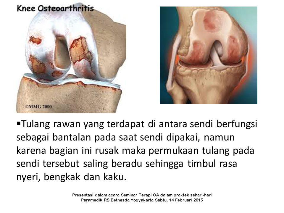  Tulang rawan yang terdapat di antara sendi berfungsi sebagai bantalan pada saat sendi dipakai, namun karena bagian ini rusak maka permukaan tulang p