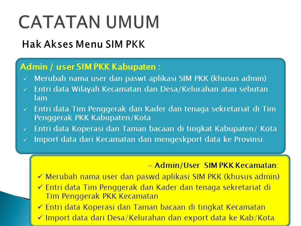 Merubah nama user dan paswt aplikasi SIM PKK (khusus admin) Entri data Wilayah Kecamatan dan Desa/Kelurahan atau sebutan lain Entri data Tim Penggerak