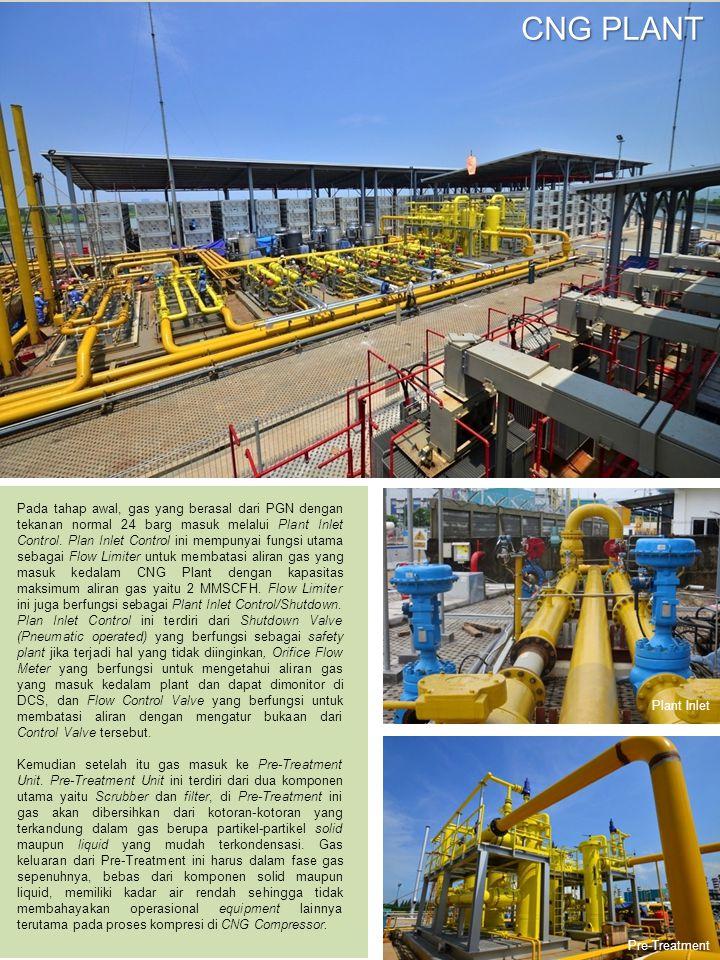 Pada tahap awal, gas yang berasal dari PGN dengan tekanan normal 24 barg masuk melalui Plant Inlet Control.