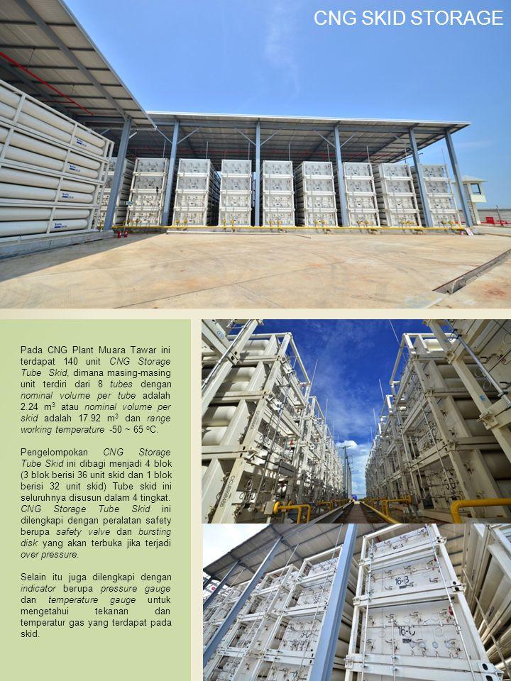 Pada CNG Plant Muara Tawar ini terdapat 140 unit CNG Storage Tube Skid, dimana masing-masing unit terdiri dari 8 tubes dengan nominal volume per tube adalah 2.24 m 3 atau nominal volume per skid adalah 17.92 m 3 dan range working temperature -50 ~ 65 o C.