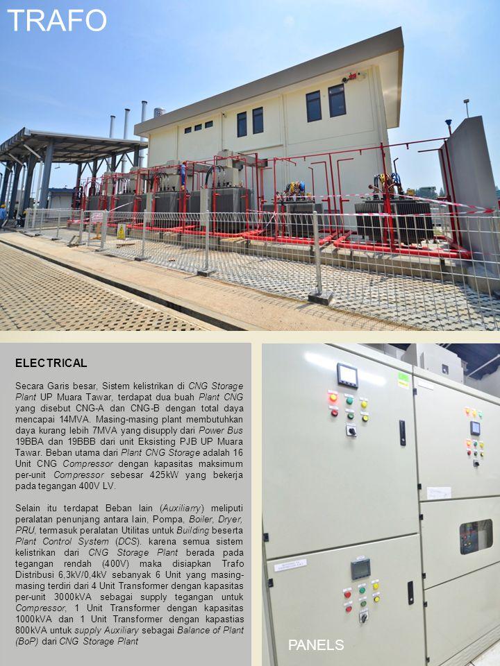 TRAFO ELECTRICAL Secara Garis besar, Sistem kelistrikan di CNG Storage Plant UP Muara Tawar, terdapat dua buah Plant CNG yang disebut CNG-A dan CNG-B dengan total daya mencapai 14MVA.