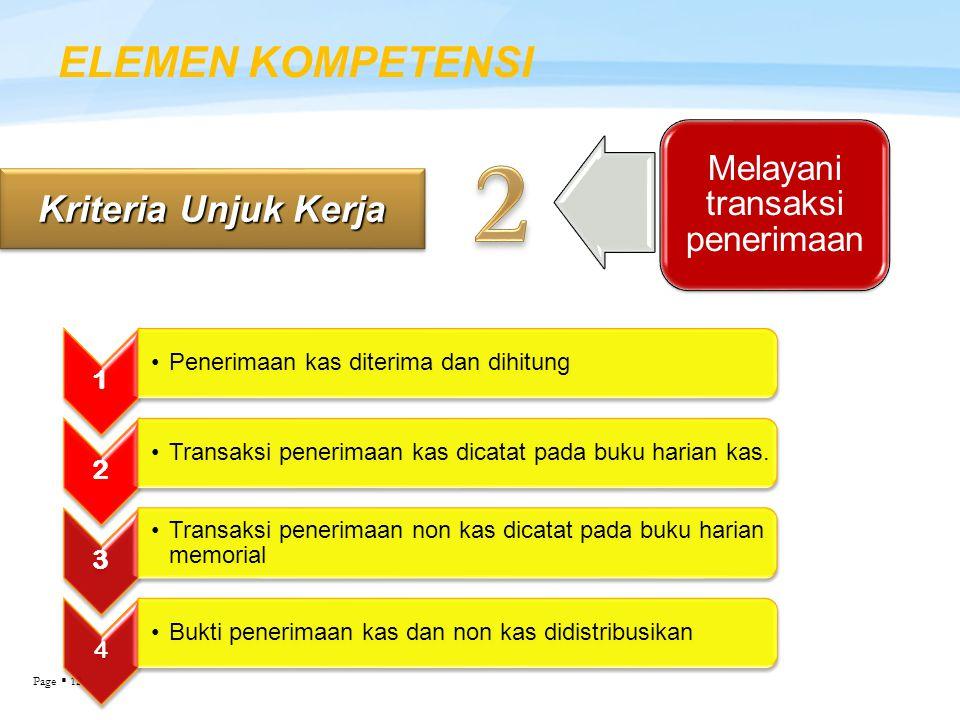 Page  12 ELEMEN KOMPETENSI Kriteria Unjuk Kerja Melayani transaksi penerimaan 1 Penerimaan kas diterima dan dihitung 2 Transaksi penerimaan kas dicat