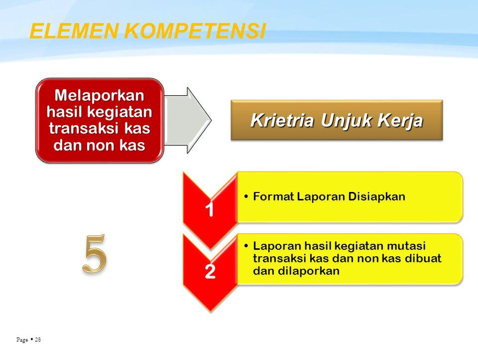 Page  28 ELEMEN KOMPETENSI Krietria Unjuk Kerja Melaporkan hasil kegiatan transaksi kas dan non kas 1 Format Laporan Disiapkan 2 Laporan hasil kegiat