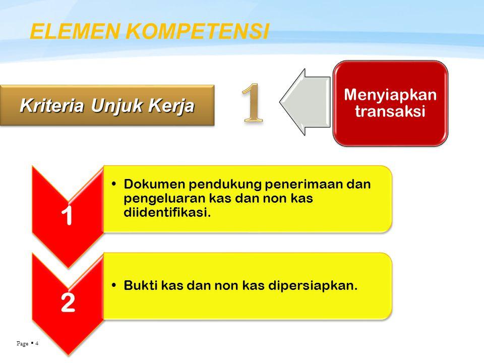 Page  4 ELEMEN KOMPETENSI Kriteria Unjuk Kerja Menyiapkan transaksi 1 Dokumen pendukung penerimaan dan pengeluaran kas dan non kas diidentifikasi. 2