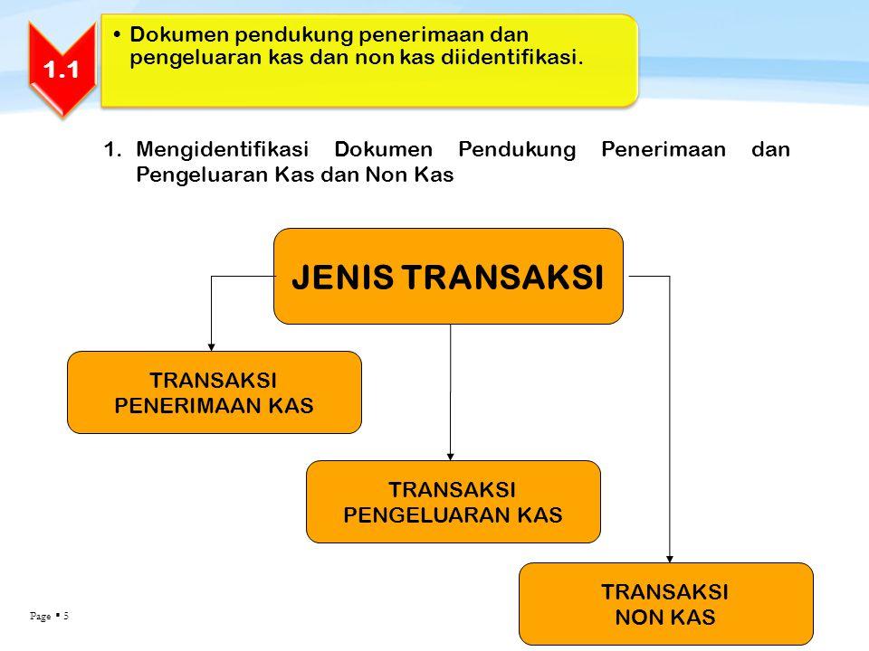 Page  5 1.1 Dokumen pendukung penerimaan dan pengeluaran kas dan non kas diidentifikasi. 1.Mengidentifikasi Dokumen Pendukung Penerimaan dan Pengelua
