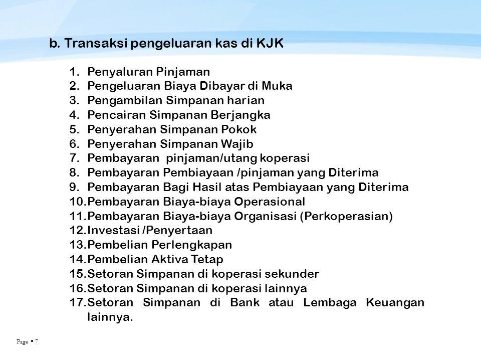 Page  7 b. Transaksi pengeluaran kas di KJK 1.Penyaluran Pinjaman 2.Pengeluaran Biaya Dibayar di Muka 3.Pengambilan Simpanan harian 4.Pencairan Simpa