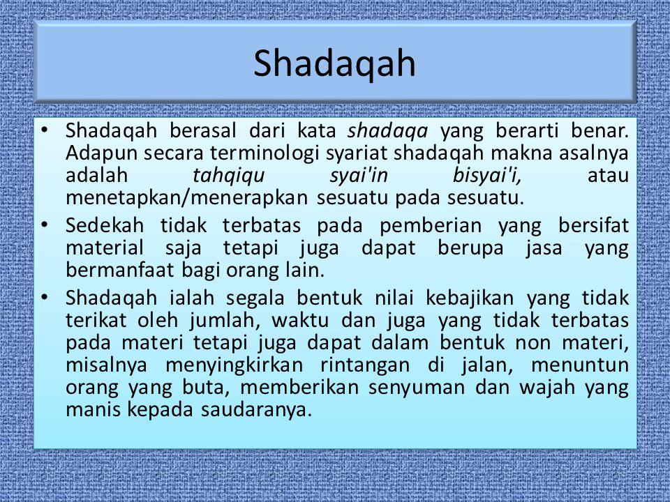 Shadaqah Shadaqah berasal dari kata shadaqa yang berarti benar.