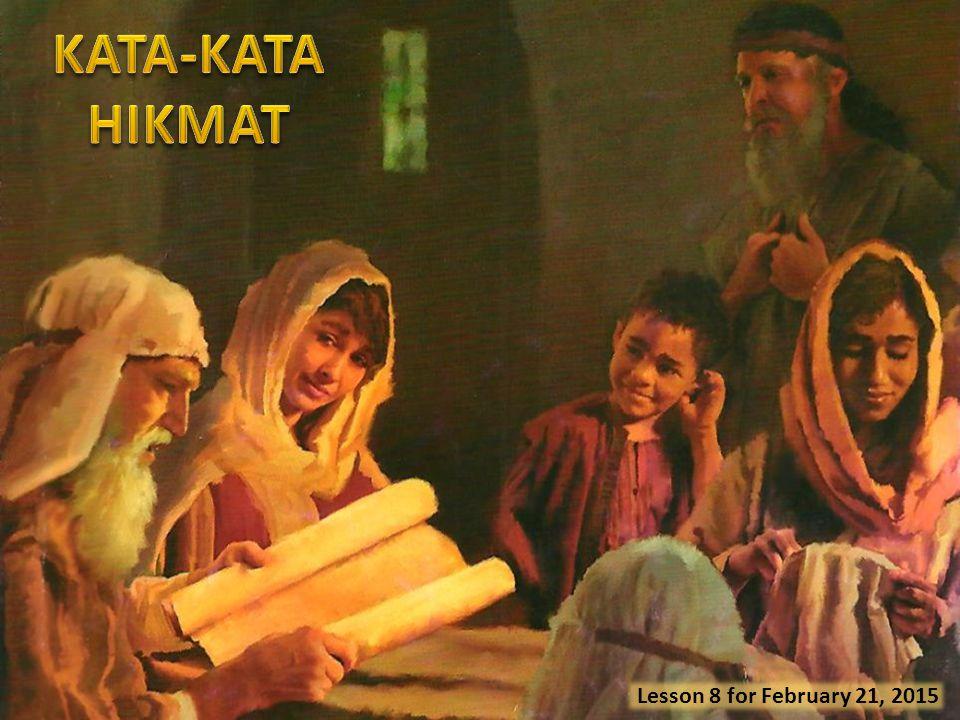 Kesetaraan umat manusia (Amsal 20:9, 12) Bertekun (Amsal 20:6) Bertekun (Amsal 20:6) Menantikan Tuhan (Amsal 20:17, 20-22; 21:5-6) Belas Kasihan (Amsal 21:13; 22:16) Pendidikan yang tepat (Amsal 22: 6, 8, 15) Kata-kata hikmat dalam Amsal 20, 21 dan 22: 1-16 menetapkan parameter yang harus menuntun kehidupan kita sehari-hari.