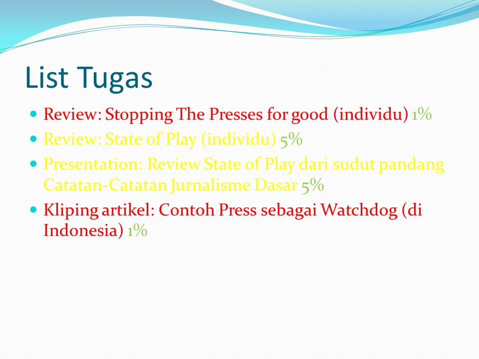 List Tugas Review: Stopping The Presses for good (individu) 1% Review: State of Play (individu) 5% Presentation: Review State of Play dari sudut panda