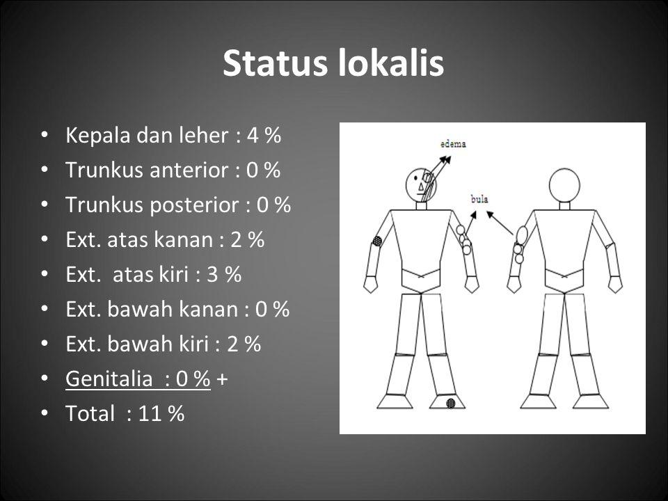 Status lokalis Kepala dan leher : 4 % Trunkus anterior : 0 % Trunkus posterior : 0 % Ext. atas kanan : 2 % Ext. atas kiri : 3 % Ext. bawah kanan : 0 %