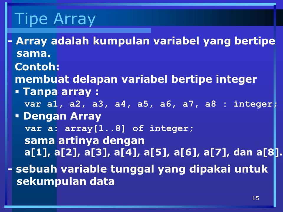 15 Tipe Array - Array adalah kumpulan variabel yang bertipe sama. Contoh: membuat delapan variabel bertipe integer  Tanpa array : var a1, a2, a3, a4,