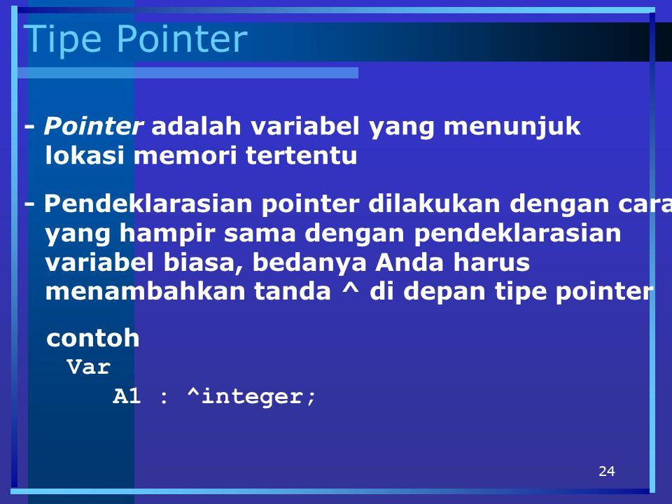 24 Tipe Pointer - Pointer adalah variabel yang menunjuk lokasi memori tertentu - Pendeklarasian pointer dilakukan dengan cara yang hampir sama dengan
