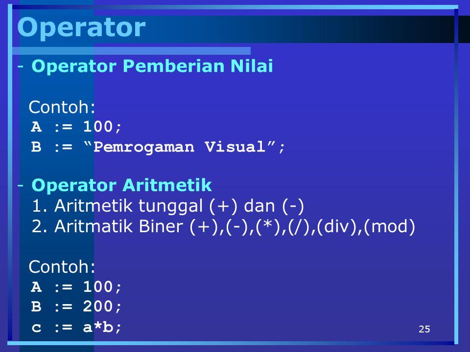 """25 Operator -Operator Pemberian Nilai Contoh: A := 100; B := """"Pemrogaman Visual""""; -Operator Aritmetik 1. Aritmetik tunggal (+) dan (-) 2. Aritmatik Bi"""