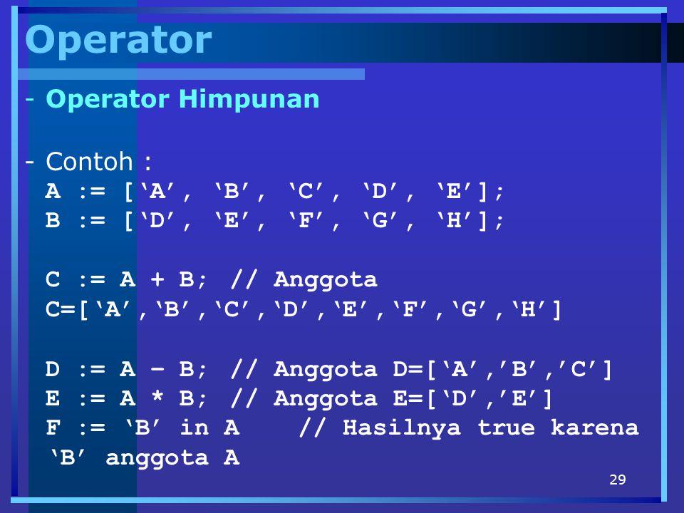 29 Operator -Operator Himpunan -Contoh : A := ['A', 'B', 'C', 'D', 'E']; B := ['D', 'E', 'F', 'G', 'H']; C := A + B;// Anggota C=['A','B','C','D','E',